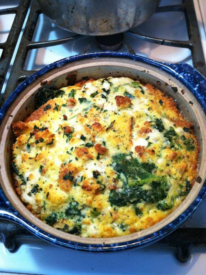 Edible Recipe: Snow Storm Spinach Cheese Strata (GF)